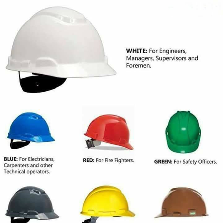 What do colour of helmet says about the role in construction?  #civilengineering #helmet #engineer #construction #constructionworker