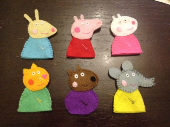 Peppa Pig and Friends Finger Puppets by TheCopperCoo on Etsy