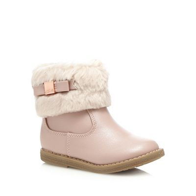 Baker by Ted Baker Girls' pale pink faux fur ankle boots | Debenhams