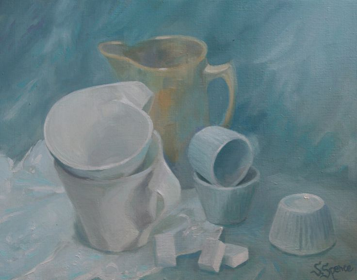 oil still life trying to capture white and cream ceramics
