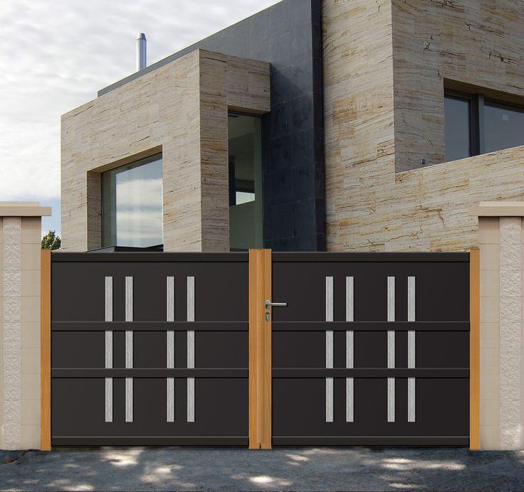 Cofreco portail futaie alu aspect bois for Portail alu castorama