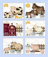 Farm Animal Prints Wall Art Boy Girl Nursery Shower Gift Decor