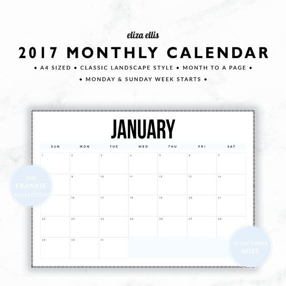 2017 A4 & A5 MONTH TO A PAGE LANDSCAPE CALENDAR - THE FRANKIE PLANNERS IN MIST  An everyday essential, this classic monthly calendar is not only a great addition to your planner, its great on the fridge or the family memo board too. For work, study or home, its an organizing must-have! > SPEND $20 AND GET 20% OFF!!! JUST USE CODE PERFECTPLANNER  > FEATURES  ▪️ both monday and sunday week start versions included ▪️ classic style ▪️ landscape