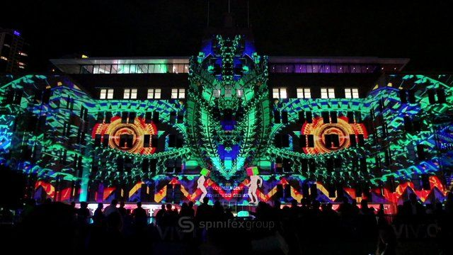 Amazing and colorful projection mapping by Spinifex Group for Vivid Sydney #SpinifexGroup #Vivid Sydney