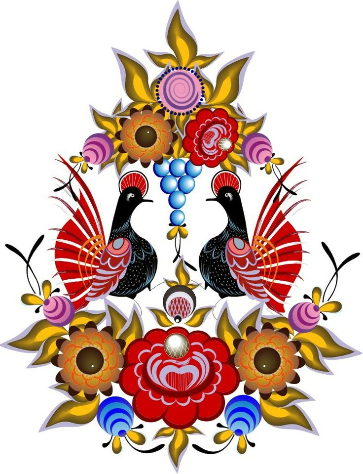 Folk Gorodets painting from Russia. Floral pattern with two birds. Vector.  #Russian #folk #art #painting