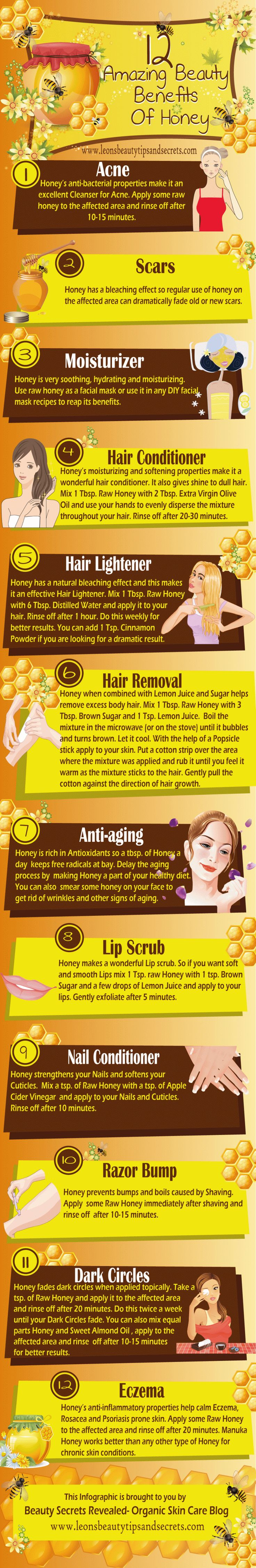 12 Amazing Beauty Benefits Of #Honey #Infographic.... Raw honey is usually best! ... from Beauty Secrets Revealed - Organic Skin Care Blog....leonsbeautytipssndsecrets.com