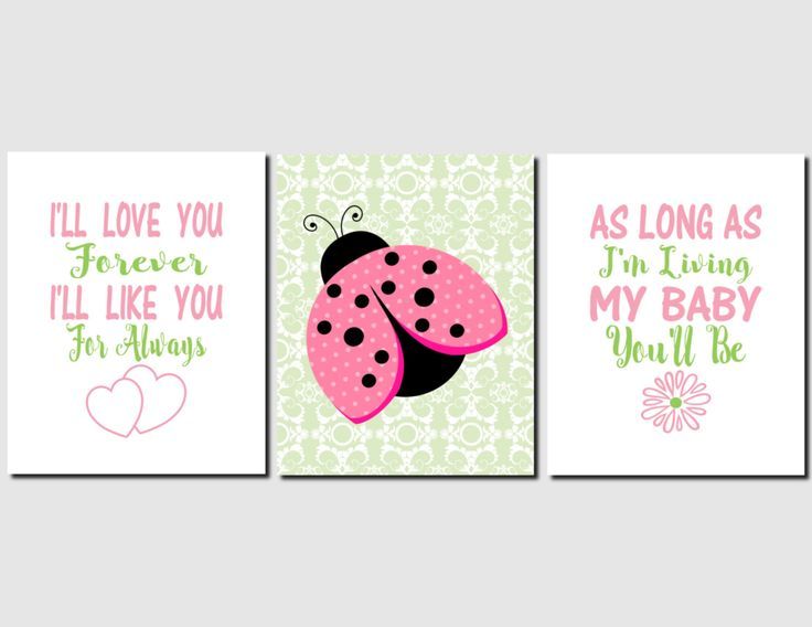 Ladybug Wall Art, Baby Girl Nursery, Kids Wall Art, I'll Love You Forever, Baby Girl, Pink Green Nursery Decor, Set of 3, Prints or Canvas by vtdesigns on Etsy