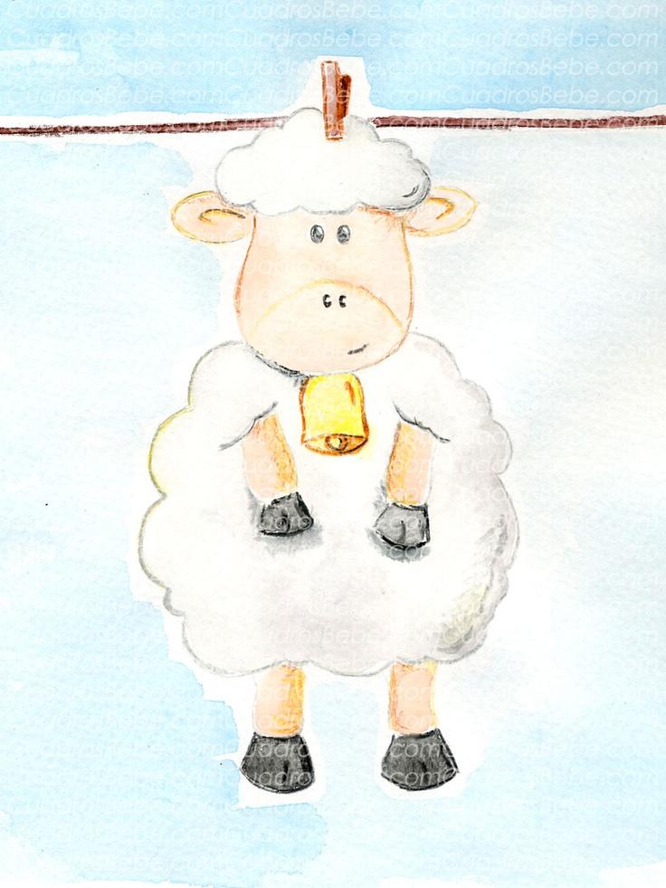 Cuadro bebe oveja o ovejita de peluche, pintado a mano con pintura y acuarela, para la habitación o cuarto de los más pequeños de la casa