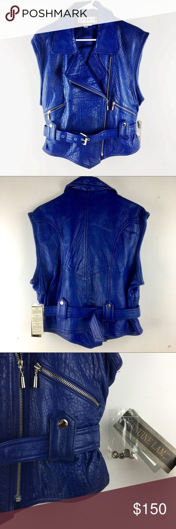 Genuine Lambskin Leather Moto Vest Cobalt Blue Brand new. Such a statement piece to add to any wardrobe. Extremely high quality! Not Harley Davidson tagged for motorcycle aesthetic. Harley-Davidson Jackets & Coats Vests