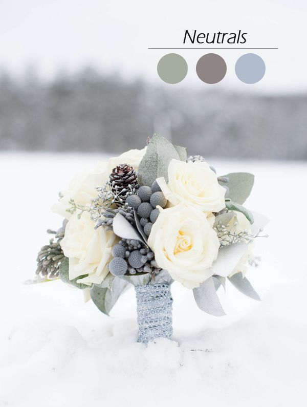 chrismas inspired neutral colors wedding bouquet for winter wedding ideas 2015