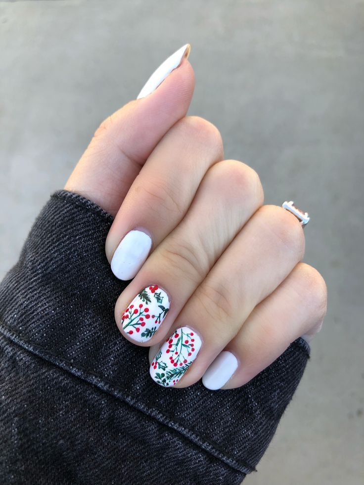 christmas nail art, holly berry nail design, white essie blanc, hand painted nail art, real nails - Rose Gold Lining by Adiel Nuesmeyer | nail art ideas | holiday nail art | diy nail art | christmas nails
