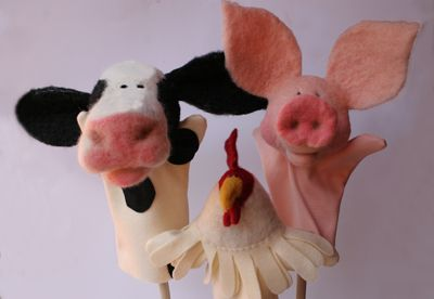 My needle felted barnyard friends puppets stimulate imaginative play and provide toys as a teaching tool and a fun way to learn.