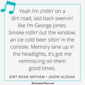"Country Music Lyrics: Jason Aldean ""Dirt Road Anthem"" Lyrics at http://HerCountryMusic.com"