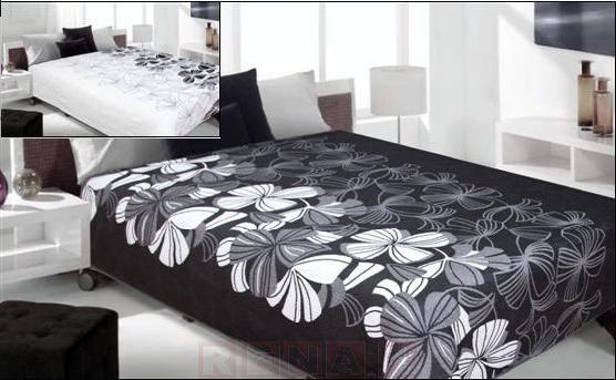 Narzuta dwustronna Kwiat- czarny+biały 220x240
