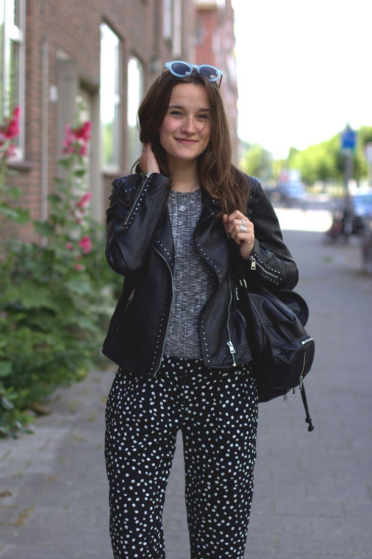 Outfit, Fashiable, fashion, blogger, Mango pants, River Island top, ZARA leather jacket
