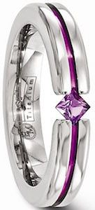 Edward Mirell Titanium Ring With Purple Gemstone