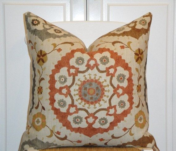 Decorative Pillow Rust : Decorative Pillow Cover - Suzani - Orange Rust - Golden Brown - Gray - Charcoal - EURO SHAM It ...