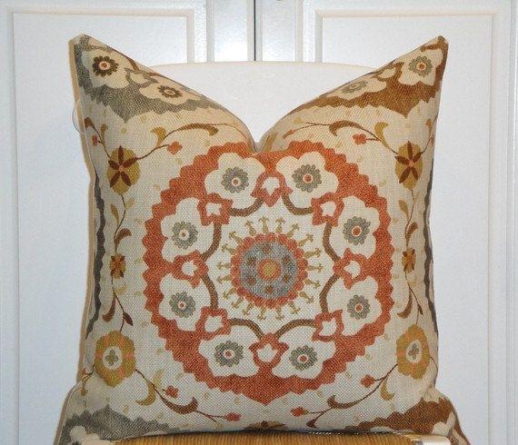 Decorative Pillow Rust : Decorative Pillow Cover - Suzani - Orange Rust - Golden Brown - Gray - Charcoal - EURO SHAM It ...