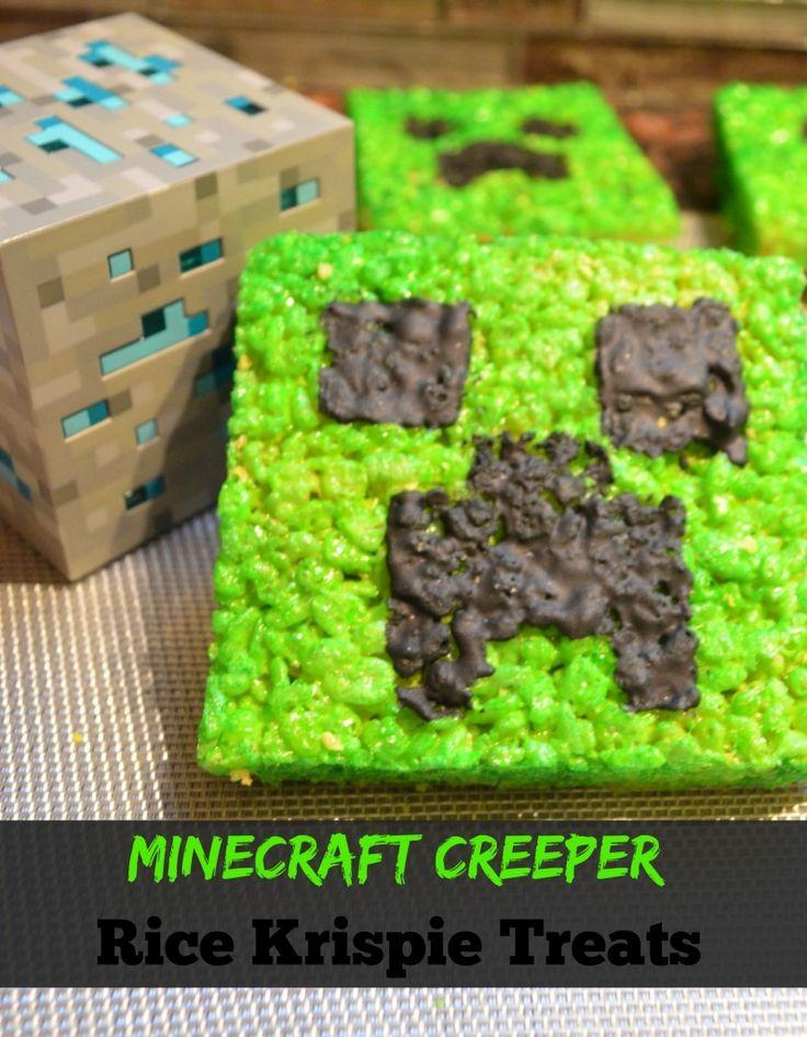 Mint Minecraft Creeper Rice Krispie Treats