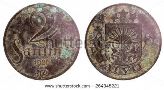 Old rare latvian coin isolated on white background - Shutterstock