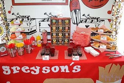 Hamburger/diner partyFood And Drink, Greyson Hamburgers, Birthdays, Theme Birthday, 50S Parties, Hamburgers Theme, 3Rd Birthday Parties, Parties Ideas, Parties Time