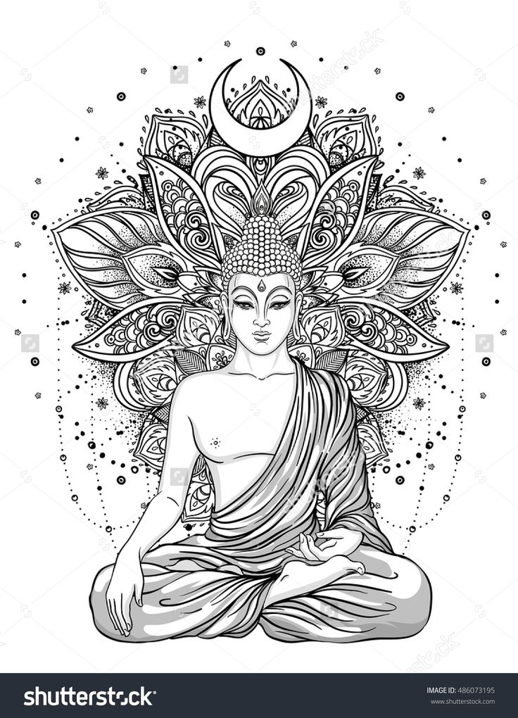 Sitting Buddha Statue over ornate mandala inspired pattern. Esoteric vintage vector illustration. Indian, Buddhism, spiritual art. Hippie tattoo, spirituality, Thai god, yoga zen Adult coloring book.