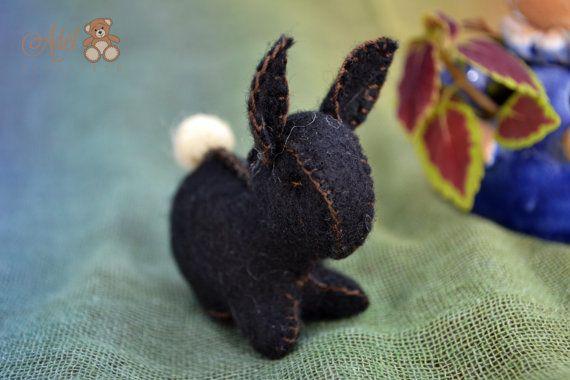 Waldorf bunny - little black bunny - waldorf toy - season table - Easter