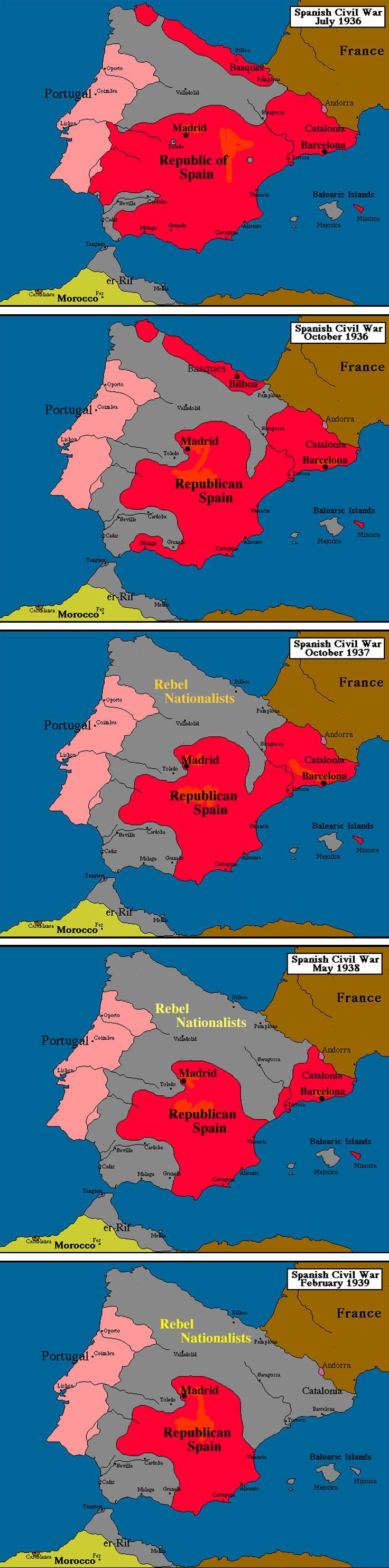 Spanish Civil War Maps 1936-1939