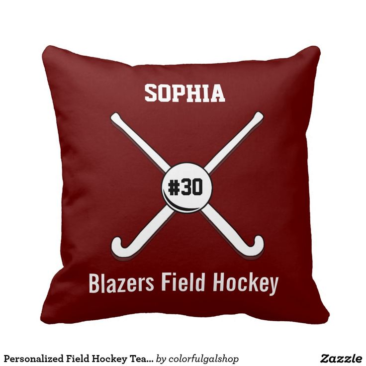 Personalized Field Hockey Team Name Jersey Number Throw Pillows