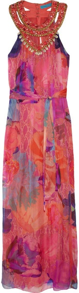 Matthew Williamson Embellished Silk Gown in Pink (multicolored)