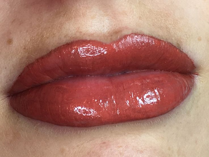 A little swelling is normal when having a lip blush. Once healed this will be a beautiful nude/coral colour. Will post healed results in a few weeks time