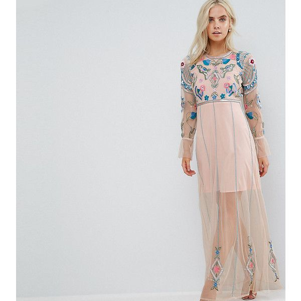 Frock And Frill Petite Floral Embroidered Mesh Maxi Dress With... (144 AUD) ❤ liked on Polyvore featuring dresses, petite, pink, pink cocktail dress, petite cocktail dress, pink sequined dresses, maxi dresses and sequin maxi dresses