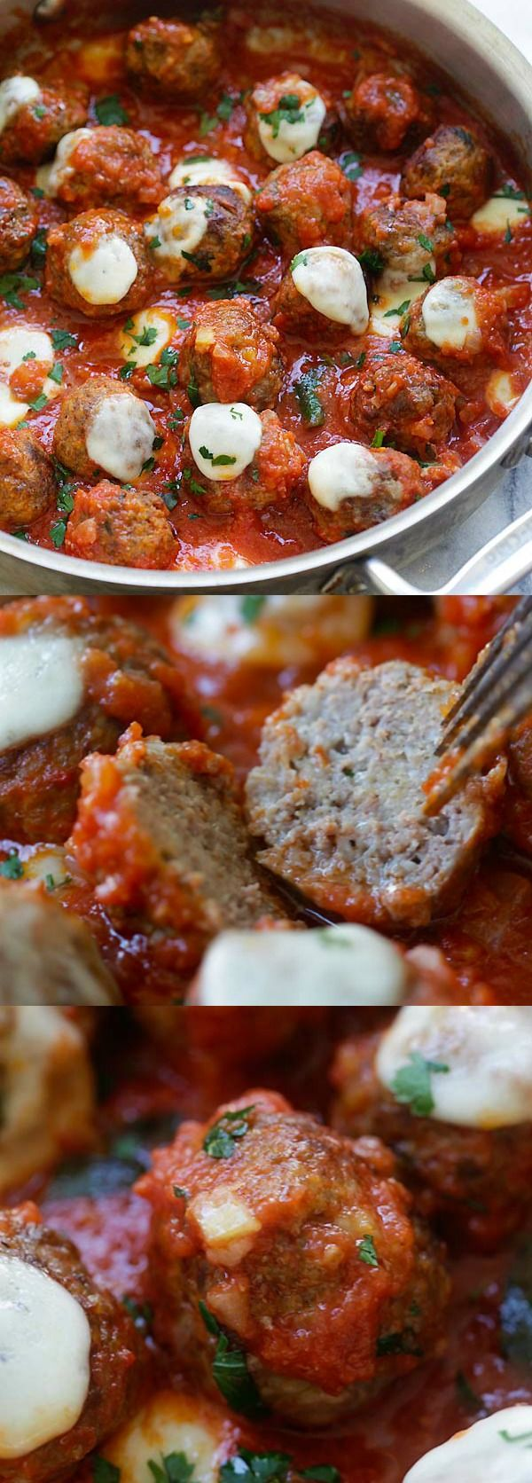 Meatball Casserole – one pot juicy and delicious meatballs in tomato sauce and topped with mozzarella cheese, homemade comfort food | rasamalaysia.c