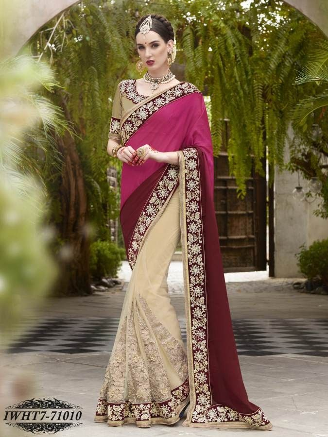 Maroon,Pink & Beige Colour Satin Chiffon & Net Embroidered Saree - Party…