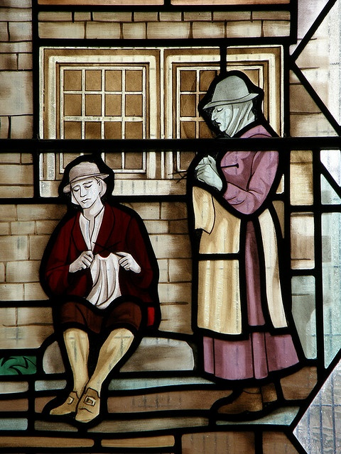 Knitters of Gayle - Detail from the millennium window in St Margaret's church, Hawes, Yorkshire Dales, UK. Artist : Sep Waugh
