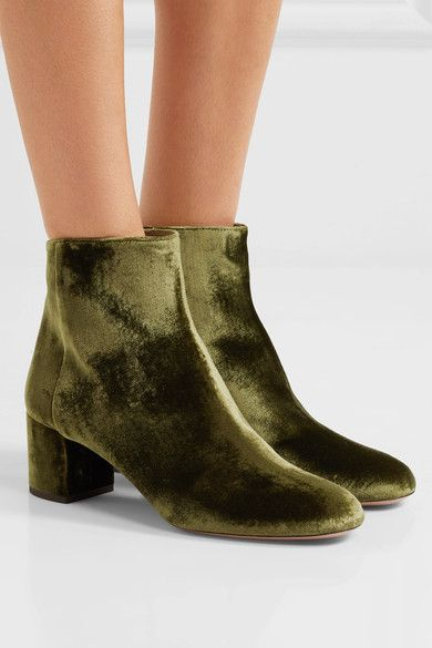 Aquazzura - Brooklyn Velvet Ankle Boots - Army green