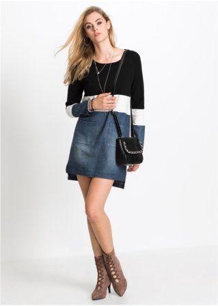 114f6a8f704c Pletené šaty ze směsi materiálů černá přírodní bílá středně fuchsiová -  RAINBOW koupit online