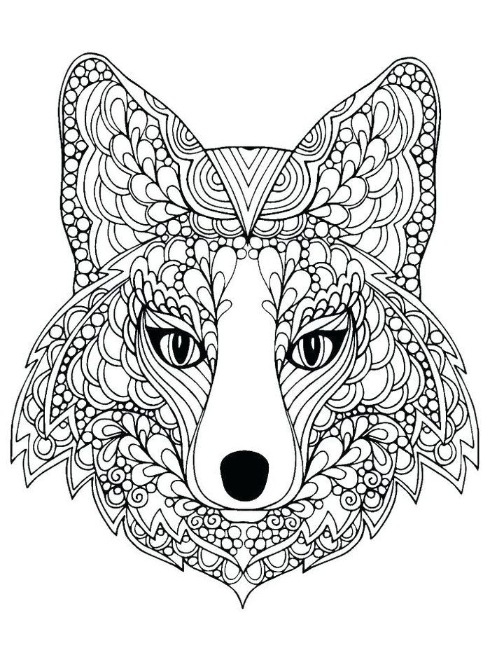Hard Wolf Coloring Pages Fox Coloring Page Animal Coloring Pages Mandala Coloring Pages