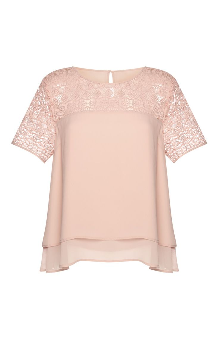 Primark - Blusa rosa con encaje a capas