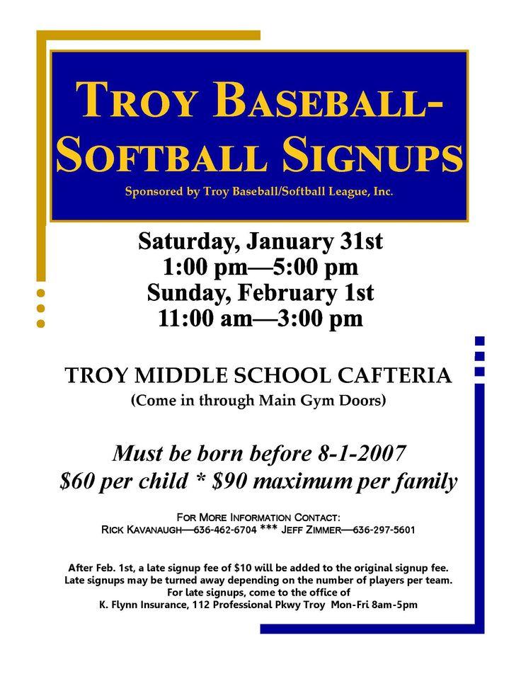 Troy Baseball-Softball Signups