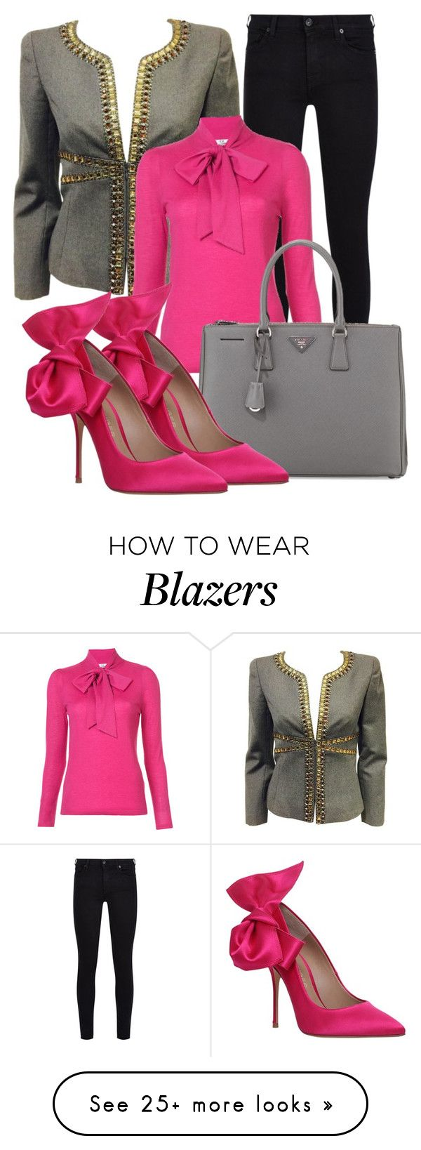 """""""grey blazer"""" by atenaide86 on Polyvore featuring 7 For All Mankind, CO, Prada and Kurt Geiger"""