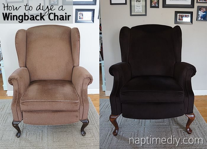 I have a couch that needs this done!   How to Dye a Wingback Chair, before and after
