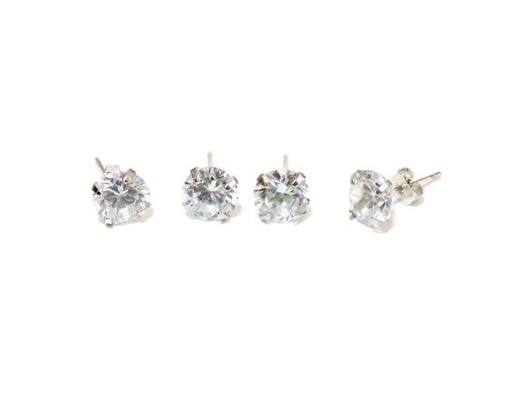 Diamond stud earrings white dot studs 925 sterling silver