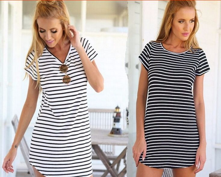 Women Shirt Dress Top Tee Summer Style Short Sleeve Stripes Loose Casual Jersey Mini Shift Dress T shirt Dresses