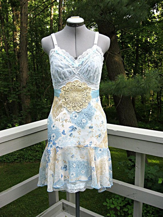 Sundress, blue and beige, blue sundress, slip dress, upcycled, blue dress, summer dress, boho, bohemian sundress, small, fish tail hem on Etsy, $108.00