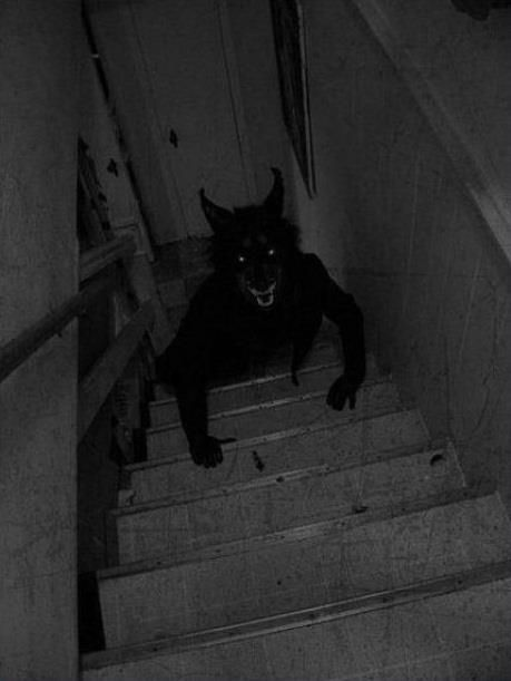 Home alone...this is what I invision coming up the stairs!! DISTURBING!!