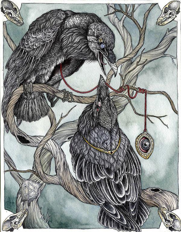 "art-and-fury: ""Huginn and Muninn, Odins Ravens - Caitlin Hackett """
