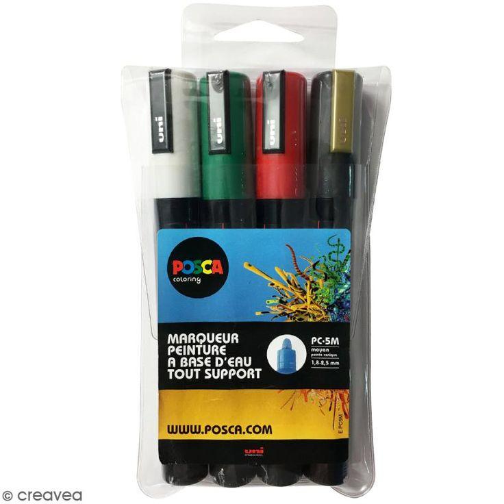 Set de marqueurs Posca pointe conique moyenne - 1,8 mm - Blanc, Vert foncé, Rouge, Or - 4 pcs - Photo n°1