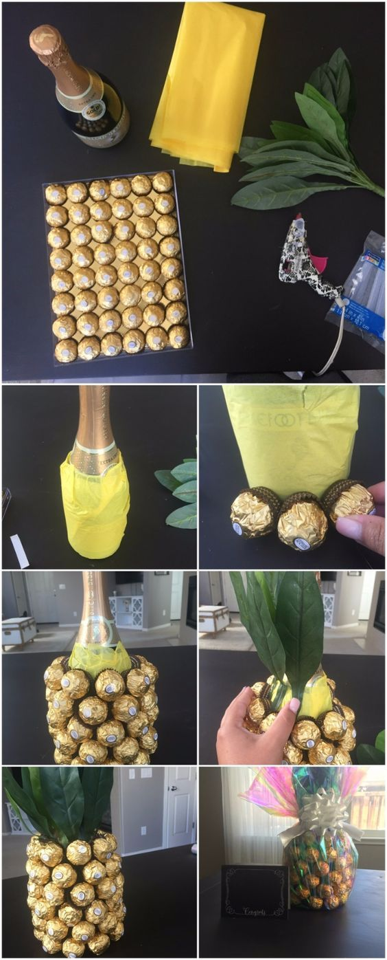 DIY Housewarming Gifts - Champagne Pineapple Housewarming Gift - Best Do It Yourself Gift Ideas for Friends With A New House, Home or Apartment - Creative, Cheap and Quick Crafts and DIY Ideas for Housewarming Presents - Mason Jar Gifts, Baskets, Gifts fo