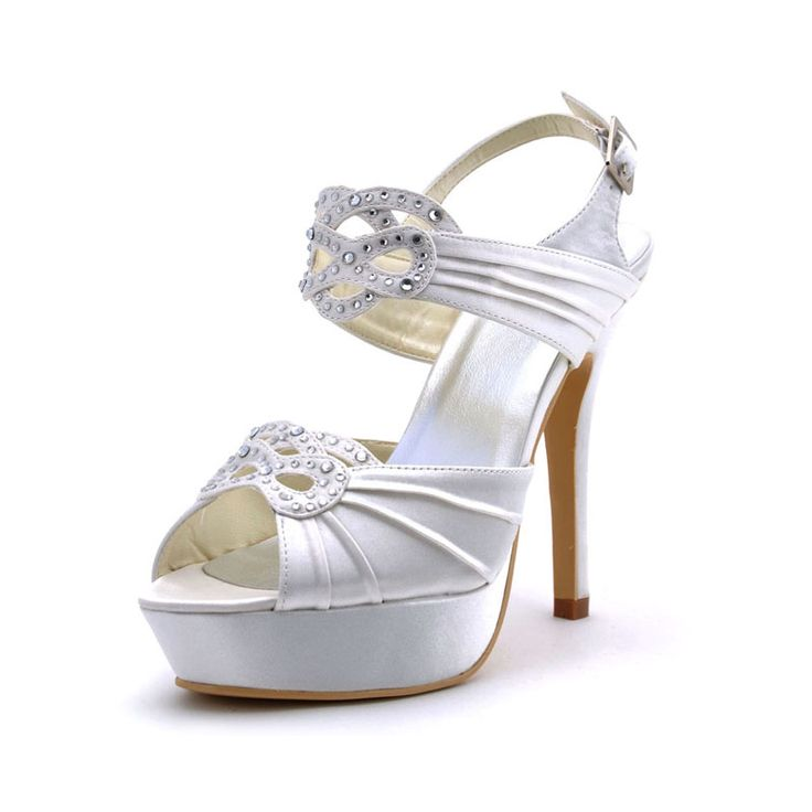 Cheap wedding shoes, Buy Quality pumps high heels directly from China peep  toe Suppliers: White Women Peep Toe Bridal Party Prom Pumps High Heels Satin  ...